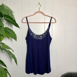 Navy Camisole with Sequin Detail